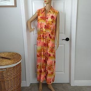 Sag Harbor Maxi Dress Orange Tropical Sleeveless